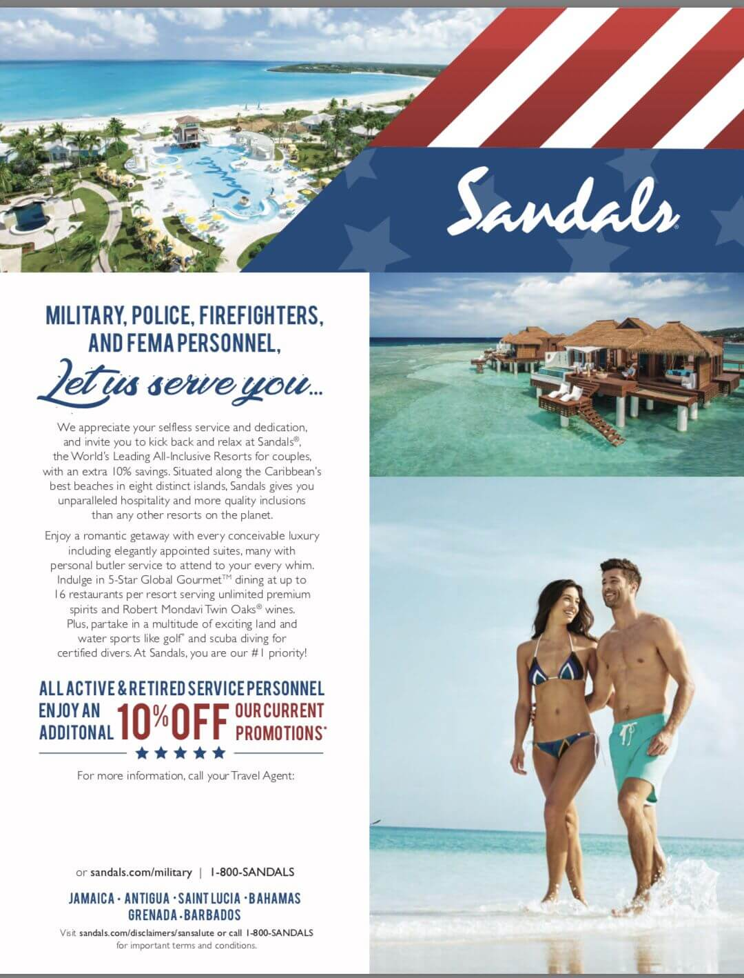 Sandals 10% Discount for Military