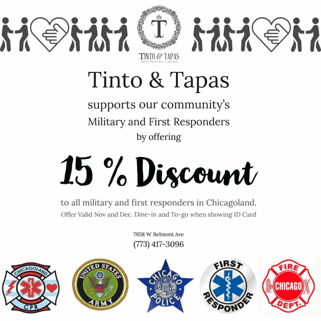 Tinto and Tapas First Responder Discount & Military Discount